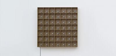 Zimoun, '49 prepared dc-motors, cork balls, mdf boxes 13x13x13cm', 2015