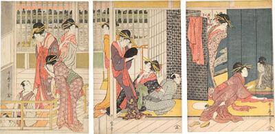 Kitagawa Utamaro, 'Morning Parting at the Temporary Lodgings of the Pleasure Quarters', ca. 1800