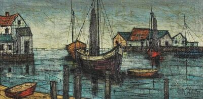 Hugo Casar, 'Modernist Oil Painting Boats in the Harbor', 1940-1949
