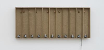 Zimoun, '11 prepared dc-motors, cork balls, mdf boxes 43x9x9cm', 2014
