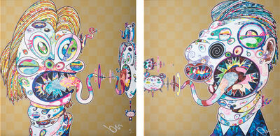 Takashi Murakami, 'Homage to Francis Bacon (Study for Head of Isabel Rawsthorne and George Dyer): two plates', 2016