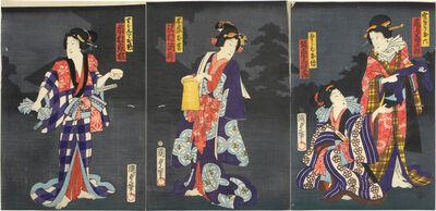 Utagawa Kunisada II, 'Actors Onoe Kikujiro II as Kumokiri Oroku, Bando Mitsugoro VI as Osaraba Oden, Sawamura Tossho II as Kinezumi Okichi, and Ichimura Kakitsu IV as Subashiri Okuma', 1856