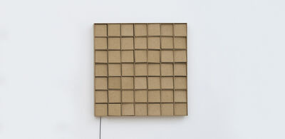 Zimoun, '49 prepared dc-motors, mdf elements, mdf boxes 13x13x13cm', 2015