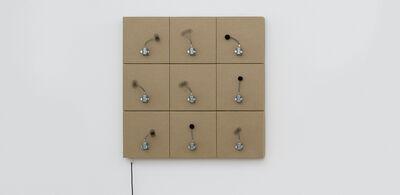 Zimoun, '9 prepared dc-motors, felt balls, cardboard boxes 22.5x22.5x5.5cm', 2014