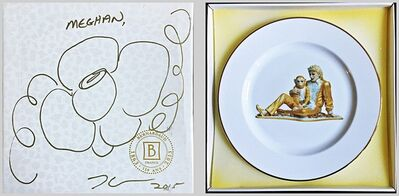 Jeff Koons, 'Original (unique) hand signed flower drawing on presentation box with Limited Edition porcelain plate inside: Banality Series (Service Plate), Michael Jackson and Bubbles)', 2014