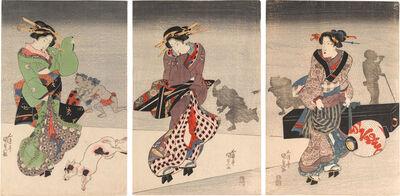 Utagawa Toyokuni III (Utagawa Kunisada), 'Two Beauties with a Maid Carrying Lantern and Shamisen', ca. 1820