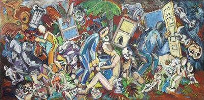 Viola Frey, 'Studio View: Seated Woman, Vase on Lap', 1986