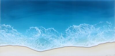 """Anna Sweet, '""""Smooth Sailing"""" mixed media painting of deep blue waves from aerial view', 2020"""