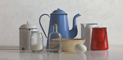 Willem de Bont, 'Still life with blue and red can', 2019