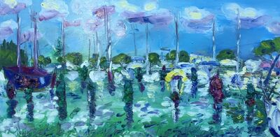 Norma de Saint Picman, 'Water series summer 2019 - plein air in situ paintings, Marina Portorose, from our mooring, No 1, thick violet', 2019
