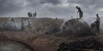 Nick Brandt, 'Charcoal Burning with Zebras', 2015