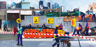 Sam Nhlengethwa, 'Johannesburg Construction Workers'