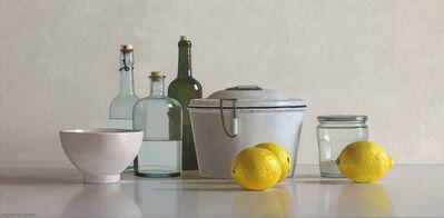 Willem de Bont, '3 lemons, baking pan, bowl, jar and 3 bottles', 2019