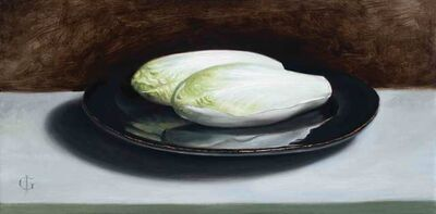 James Gillick, ' Chicory on a Black Plate', 2019