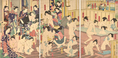 Toyohara Kunichika, 'Kabuki Actors at the Yoshiwara Bath', 1868