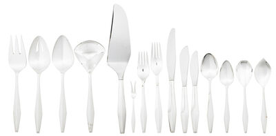 Gio Ponti, '82-piece sterling silver six-piece Diamond flatware set for twelve with ten serving pieces, Taunton, MA', des. 1958