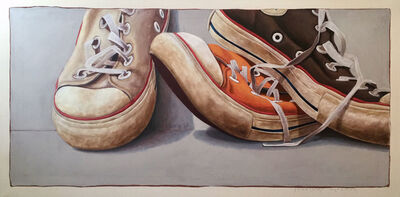 """Santiago Garcia, '""""#1301"""" Oil painting of white, orange and black converse sneakers leaning on eachother', 2015-2019"""