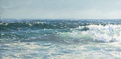 """Annie Wildey, '""""Crystal Surf II"""" Oil painting of a rolling teal blue wave in the ocean', 2020"""