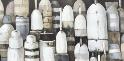 "Michel Brosseau, '""Shades of Gray"" oil painting of black, white and gray buoys', 2019"