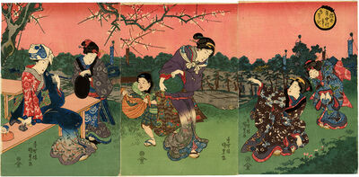 Utagawa Kunisada, 'Beauties Gathering Herbs in Spring Triptych', 1840-1845