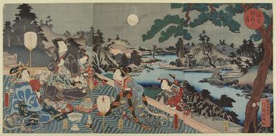 Utagawa Toyokuni III (Utagawa Kunisada), 'Moon at Genji's Villa', 1854