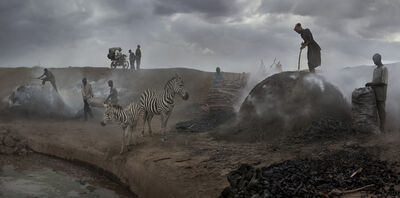 Nick Brandt, 'Charcoal Burning with Zebras', 2018