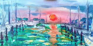 Norma de Saint Picman, 'Water paintings summer 2019 - plein air in situ paintings, sunset -  red sun, Marina Portorose', 2019