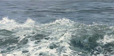 """Annie Wildey, '""""Crest"""" oil painting of dark grey-blue waves with white sea foam', 2020"""