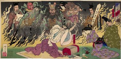 Tsukioka Yoshitoshi, 'Taira no Kiyomori burns with Fever', 1883