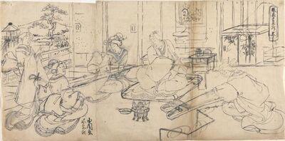 Utagawa Toyokuni III (Utagawa Kunisada), 'The Four Accomplishmnets (Music, Go, Calligraphy, Painting): Music (koto)', about 1870