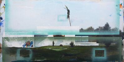 Peter Hoffer, 'Illuminati - large, blue, architecture, deconstruction, mixed media on linen', 2014