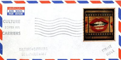 """Joe Tilson RA, '""""CULTURE CARRIERS STAMP OUT ART"""" (SIGNED) from the Collection of Art Critic Anthony Haden-Guest', 1971"""