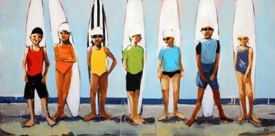 "Debbie Miller, '""Rainbow Surf"" oil painting of kids standing in front of surfboards in colorful swimsuits', 2019"