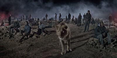 Nick Brandt, 'Savannah with Lion & People', 2018