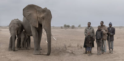 Nick Brandt, 'Elephant & Human Family', 2018