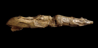 'Carving of swimming reindeer. Found at Montastruc, France', ca. 11,000 BCE