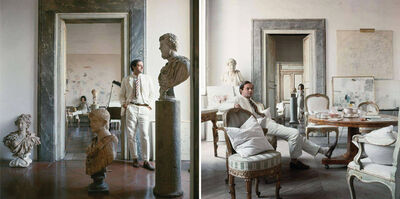Horst P. Horst, 'Cy Twombly in Rome 1966 - Untitled #9 and Untitled #4, Diptych', 1966