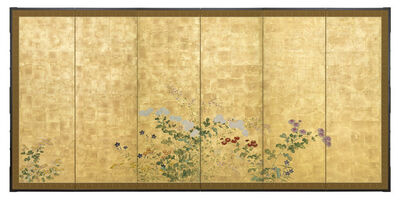 Kano School, 'Folding Screen, Autumn Flowers (T-4350)', Edo period (1615, 1868), late 18th century