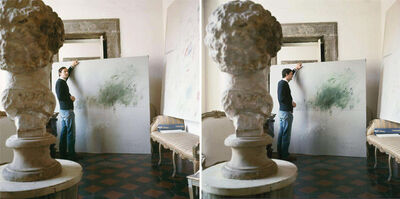 Horst P. Horst, ' Cy Twombly in Rome 1966 - Untitled #30 and Untitled #24, Diptych', 1966