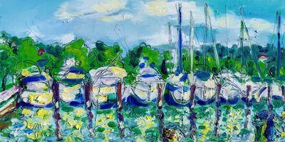 Norma de Saint Picman, 'Water paintings summer 2019 - plein air in situ paintings - Marina Portorose, white clouds...', 2019