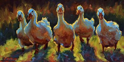 "Cheri Christensen, '""Duck Gangs"" oil painting of five ducks in a field', 2020"