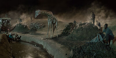 Nick Brandt, 'Charcoal Burning with Giraffe & Worker ', 2018
