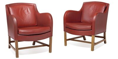 Kaare Klint, 'Mix. A pair of mahogany easy chairs. Sides, back and loose cushions upholstered with red coloured leather.'