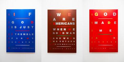 Marcos Ramírez ERRE, 'Suite of 3 Works: Eye Chart: Dennis Chavez; Eye Chart: Thomas Jefferson; Eye Chart: Sitting Bull', 2019