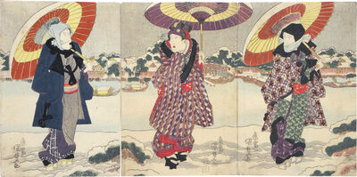 Utagawa Toyokuni III (Utagawa Kunisada), 'Actors Ichikawa Danjuro VII, Iwai Kumesaburo II and Matsumoto Koshiro V at the Sumida River in the Snow', ca. 1825