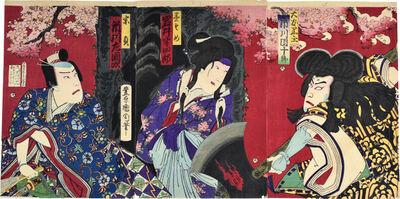 Toyohara Kunichika, 'Ichikawa Danjuro IX as Otomo Kuronushi, Iwai Hanshiro VIII as Sumizomezakura, and Ichikawa Sadanji as Munesada', 1878