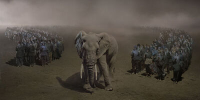 Nick Brandt, 'River of People with Elephant at Night', 2018