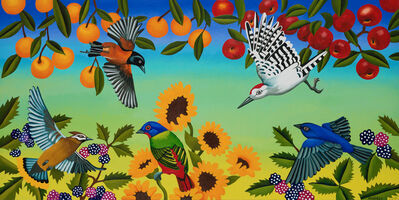 Billy Hassell, 'Birds and Fruit Trees with Blackberries and Sunflowers', 2019