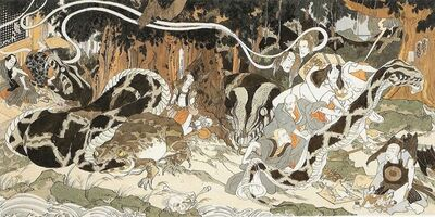 Masami Teraoka, 'Study for AIDS Series/Makiki Heights Disaster', 1987