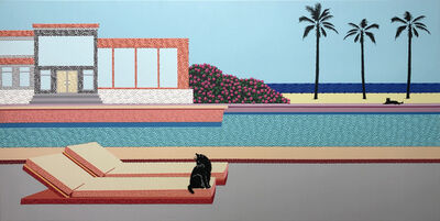 Natan Elkanovich, 'Cat on a pool chair - landscape painting', 2021
